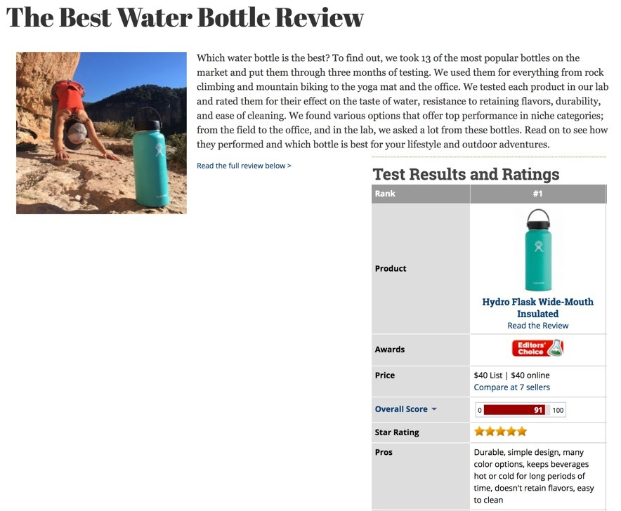 The Best Water Bottle Review