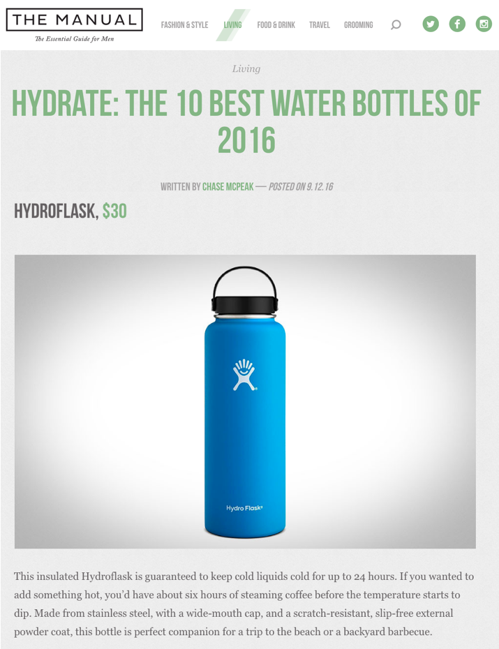 Hydrate: The 10 Best Water Bottles of 2016
