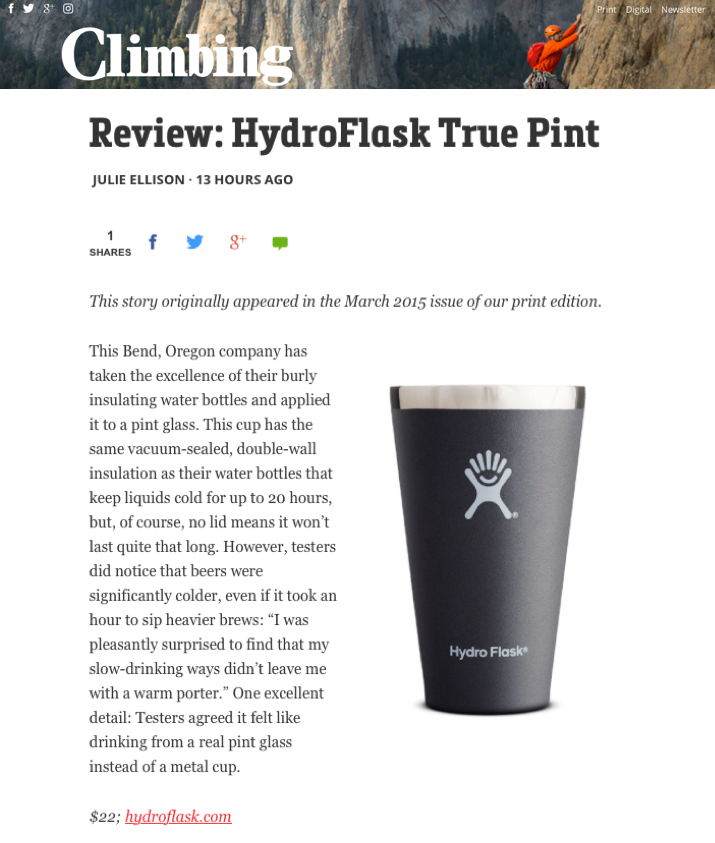 Review: HydroFlask True Pint