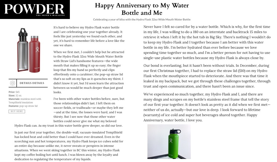 Happy Anniversary to My Water Bottle and Me